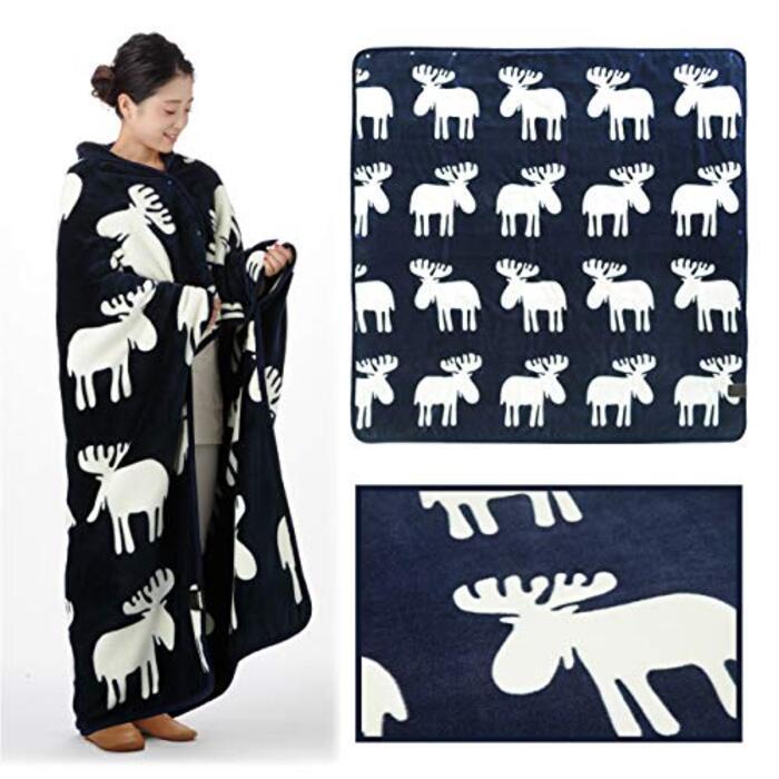 とろけるフランネル 着る電気毛布 クルン (ネイビー レギュラーサイズ(140×140cm))