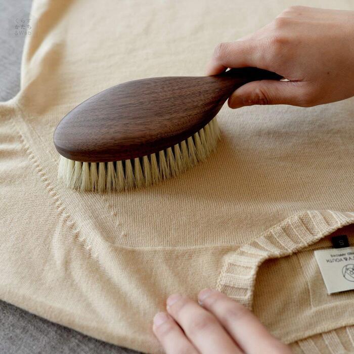 ショージワークス 馬毛 豚毛 日本製 ウォールナット 洋服ブラシ ウール・混紡用 CB-1
