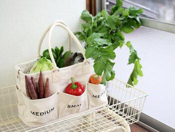 """""""野菜を畑で育ったまま立てて保存できるように""""というコンセプトの元作られた「VegieBAG(ベジバッグ)」。 厚手で丈夫なコットン素材で作られており、外側から内側まで大小様々なポケットが付いていて機能的。また、サイズ展開も豊富で、背が高く作られたものやマチが広く作られたものなど、食材や用途によって選べることが出来ますよ。シンプルなロゴがおしゃれなので、そのまま普段着用に使うのもおすすめです。"""