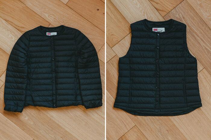 一枚あると便利なショート丈のダウンジャケットと、インナーダウンとしても普段使いできるベスト。軽く柔らかで品のある光沢感が特徴的なアイテムです。 軽量なポリエステル素材で、中綿にはダウンを90%使用。保温性が高く、防寒性に優れています。