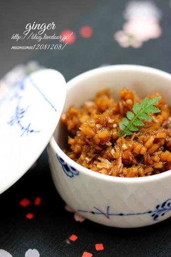 おかゆのお供に、生姜の佃煮がおすすめ。爽やかな風味と程よい食感もアクセントになります。食欲が出ない場合もちょこっと入れてぽかぽかに。