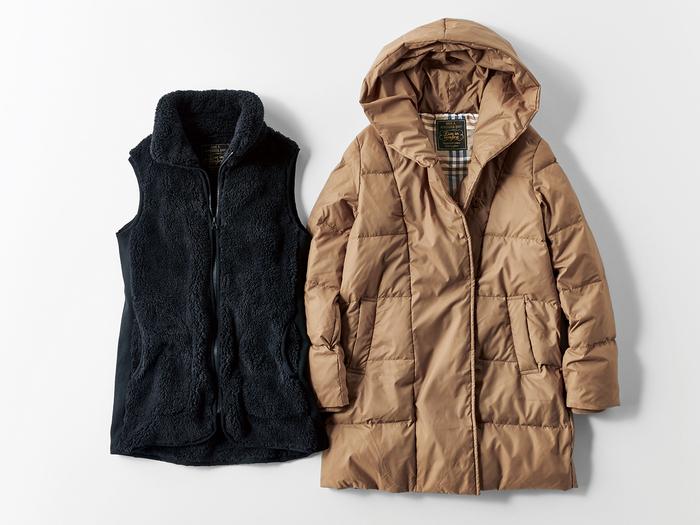 """""""はまじ""""ことモデルの浜島直子さんと一緒につくる、毎シーズン人気の『はまじとコラボ』シリーズ。この冬は「重ねる」をテーマに、ダウンコートとインナーボアベストが登場。重ねたり単品で使ったりすることで、気軽に温度調整ができるアイディアです。"""