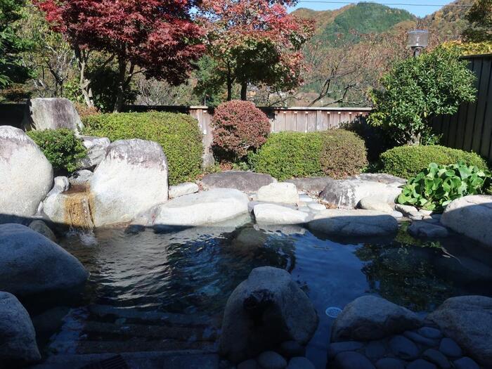 月川温泉がある阿智村園原(そのはら)は、手つかずの自然が残る美しい場所。花桃だけでなく、夏の新緑、秋の紅葉、冬の雪景色と、季節によって様々な表情を見せてくれます。そんな四季の変化を楽しめるのが、月川さんの露天風呂。ゆったり温泉に入りながらきれいな景色を眺める…。とても贅沢ですね。