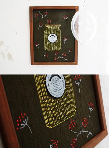 こちらも刺繍に見えますが、実はこれ、「ステッチカラー」というペンで描いた「刺繍風」イラスト。布にそのまま書くだけで、文字もイラストもすぐに完成しちゃいます。結婚式のウェルカムボードにもぴったり!