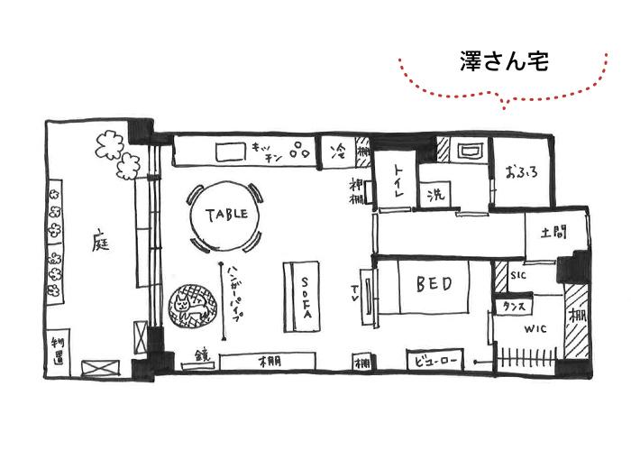 玄関の土間は、廊下とシューズクローゼットの両方から出入り可能。