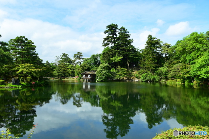 兼六園のほぼ中央部に位置する霞ヶ池は、面積約5800平方メートルの園内最大の池です。波ひとつ無い静かな水面が、鏡のように周囲の景色を映し出す様は、まるで一幅の掛け軸のような素晴らしさです。
