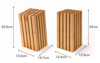 上部のスペースに余裕がある場合は前者、棚などがある場合は後者が使いやすい。竹集成材+竹抗菌オイル仕上げ。