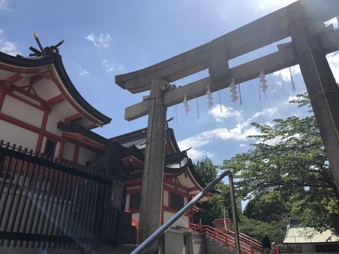 花園神社には3柱の神様が祀られています。商売繁盛や恋愛成就、子授けなどのご利益もありますが、中でも特徴的なのは「芸能」に関するご利益です。敷地内の芸能浅間神社には、芸能界で活躍する有名人の札がたくさん掲げられています。