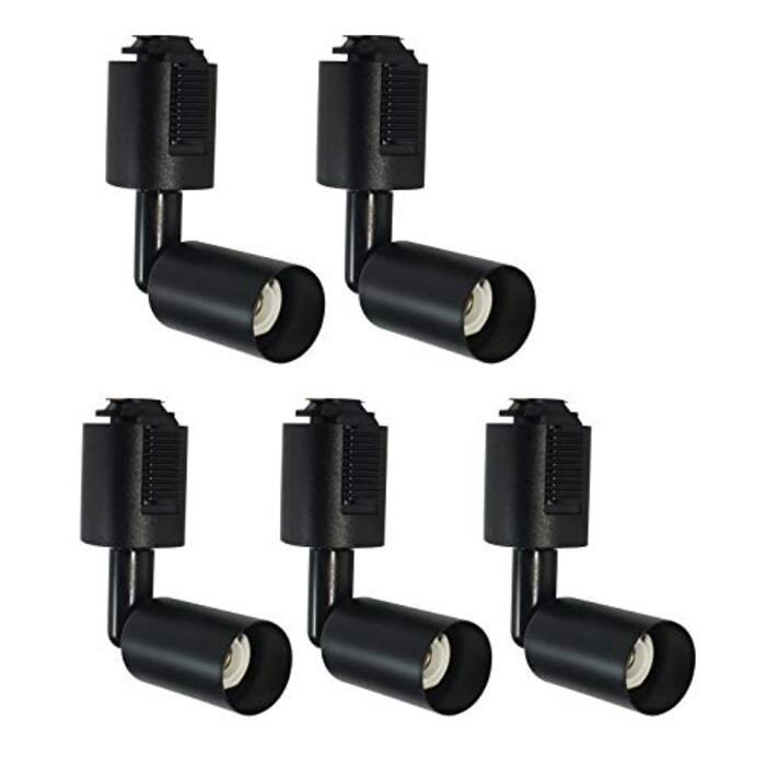 ライティングレール E11口金 ダクトレール用照明器具 新型 間接照明 ブラック スポットライト器具 電球別売 ライティングダクト自由移動可能 ライティングバー用ライト一年保証 PSE済み(黒い 5個セット)
