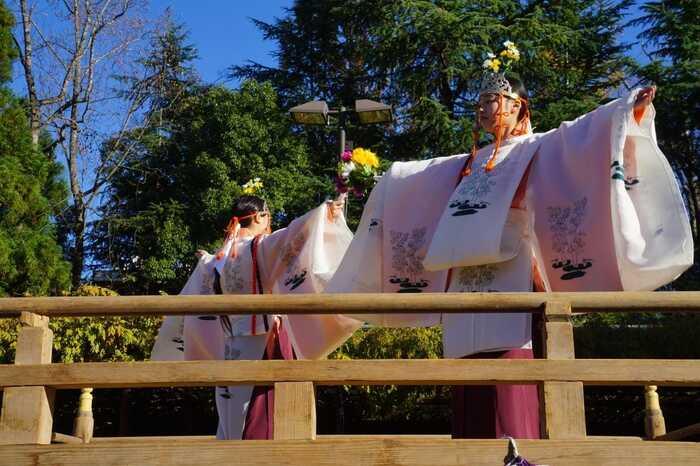 例年10月中旬から11月下旬に行われる「笠間の菊まつり」は、秋の笠間の代表イベント。「笠間稲荷神社」が本会場となり、境内は、色とりどり、艷やかな菊花、約1万鉢でで彩られます。  【画像は、菊まつり会期中に催される「舞楽祭」の中で奉納された、田植えの姿を表現した、神楽『稲荷舞』。会期中には、舞楽の他「神事流鏑馬」等が催される。】