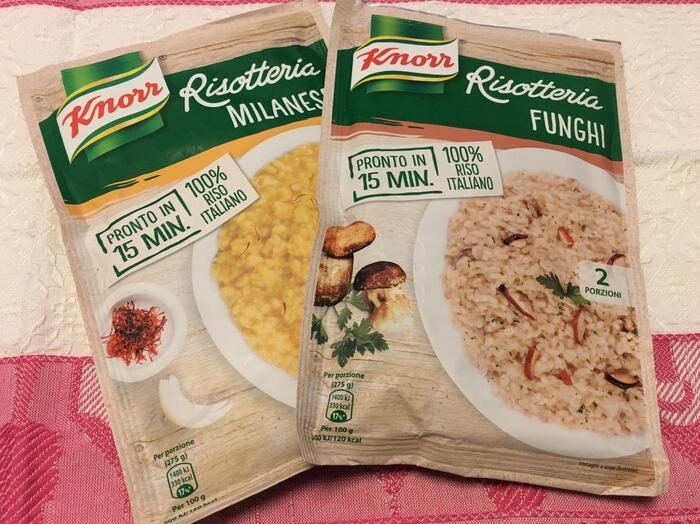 イタリアのスーパーはリゾットも豊富です。1食分のタイプを選べば嵩張らずに持ち帰ることもできますね。