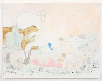 「おしゃべり」 2010 water color, pencil, color pencil and collage on paper 27.9 × 35.9 cm photo by Kenji Takahashi ©Tomoko Nagai, Courtesy of Tomio Koyama Gallery