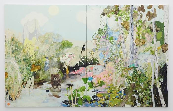 「ドラマチック」 2012 oil, glitter on canvas 227.5 × 364.0 cm photo by Kenji Takahashi ©Tomoko Nagai, Courtesy of Tomio Koyama Gallery