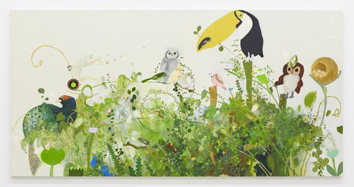 「鳥鳥、鳥」 2016 oil on canvas 97.0 × 194.0 cm photo by Kenji Takahashi ©Tomoko Nagai, Courtesy of Tomio Koyama Gallery