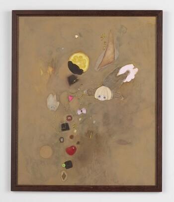 「ホットココア」 2016 watercolor, colored pencil, pencil, ink, pastel, glitter and collage on paper image: 42.0 x 34.5 cm (frame: 44.5 x 37.0 cm) photo by Kenji Takahashi ©Tomoko Nagai, Courtesy of Tomio Koyama Gallery