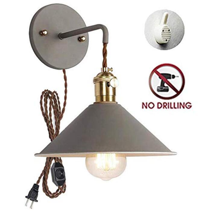 STGLED ブラケットライト 賃貸対応 壁に穴あけ不要 コンセント式 ON/OFFスイッチ付き 壁取付ランプ 壁掛けフックにて固定 アンティーク調 北欧 おしゃれ ウォールライト インテリア照明 LED対応 E26 グレー