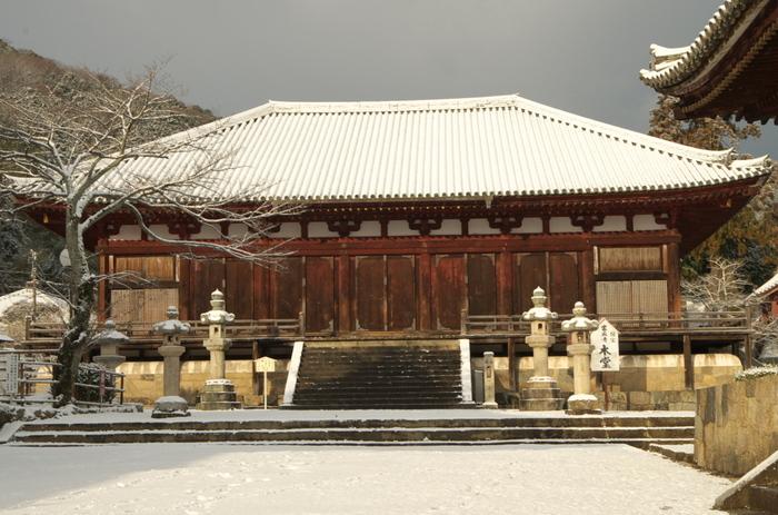 「曼荼羅堂」との異名を持つ當麻寺本堂は国宝に指定されています。中将姫が一晩で織り上げたと伝えられる当麻曼荼羅が安置されているほか、国宝に指定されている高さ5メートルの厨子なども必見です。