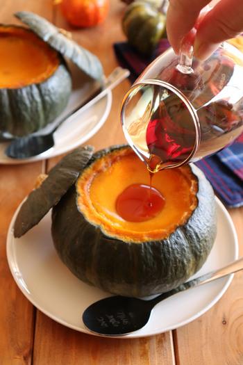 坊ちゃんかぼちゃを丸々一個使用したプリンのレシピ。濃厚で優しい甘さがおいしい♪