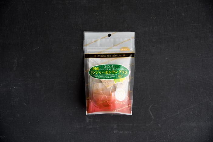 同じく「ひしわ」の、「お茶の時間」を大切にしたいという気持ちから作られた、高知県産の生姜と、有機認定圃場で栽培された「国内産」100%のレモングラスから作られた「国産ジンジャー&レモングラス」。