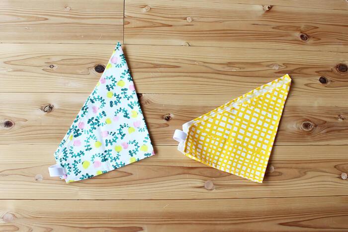 子どもが自分で簡単にかぶれる、ゴム付きの三角巾です。お気に入りの柄の手ぬぐいはもちろん、はぎれを使ってもOK。