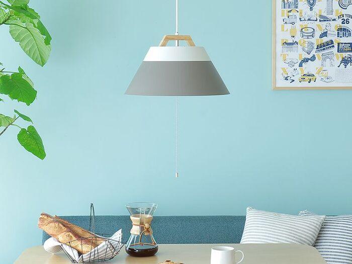 1灯で照らすなら、明かりが広がる大きめサイズのペンダントライトを選ぶといいでしょう。