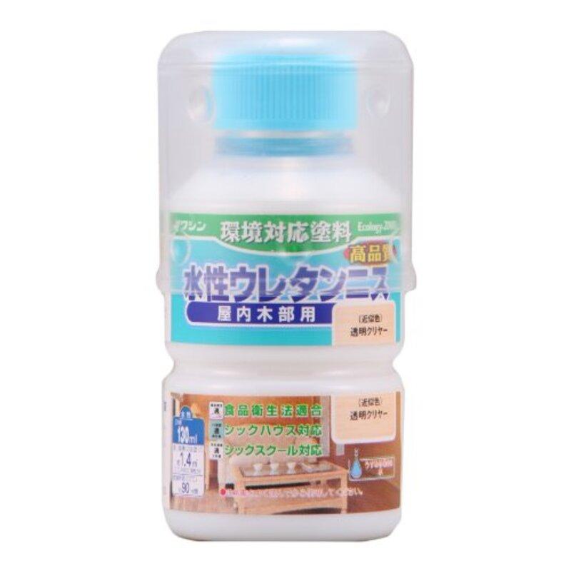 和信ペイント 水性ウレタンニス 屋内木部用 高品質・高耐久・食品衛生法適合 透明クリヤー 130ml