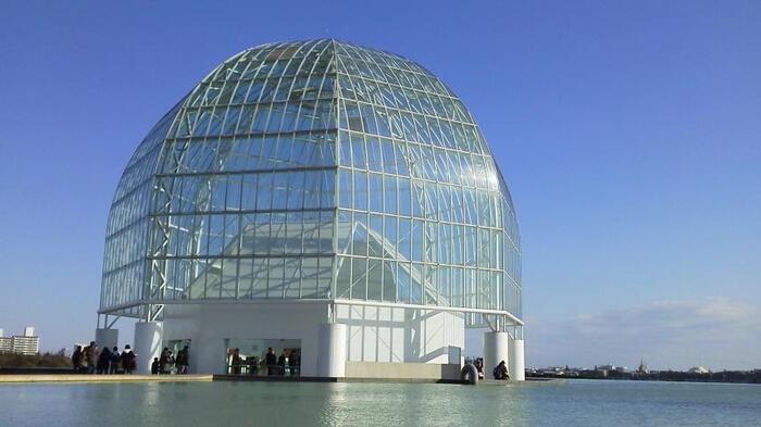 屋上が展望台になった球体型の水族館がある「水族園ゾーン」、渡り鳥も訪れる「鳥類園ゾーン」、観覧車があり花畑や広大な芝生が広がる「芝生広場ゾーン」、海に面した「汐風の広場ゾーン」と見どころが満載です。一日ゆっくりと過ごせる楽しい公園ですよ。