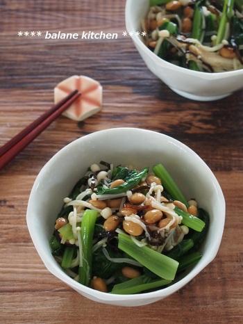 栄養満点な上に時短で作れる「小松菜とえのきの納豆塩昆布和え」。納豆の発酵パワーやタンパク質に加えて食物繊維・カルシウム・鉄分も摂れるレシピです。和えるだけなので、サッと作れて便利ですよ。