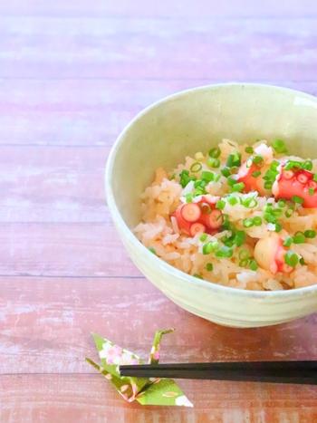 歯ごたえを楽しめるタコの炊き込みごはん。タコの美しい桜色を生かすためには、醤油を使わず白だしで味付けをするのがポイント。