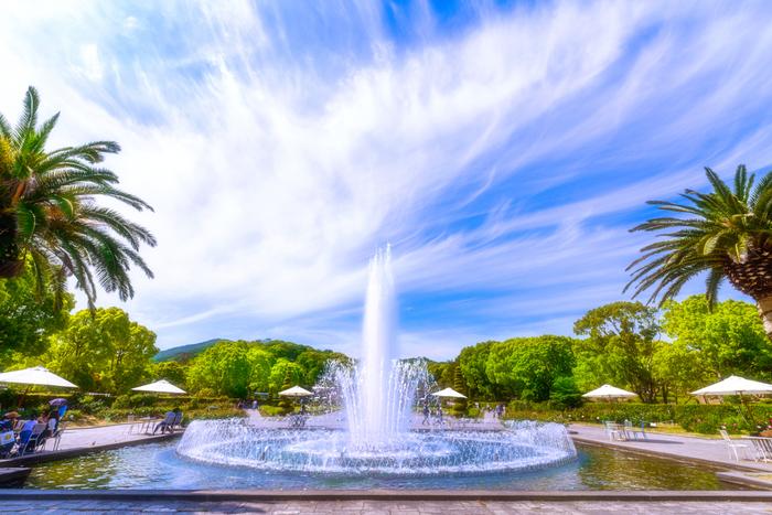 なだらかな丘陵地帯に位置する神戸市立須磨離宮公園は、西洋式庭園と植物園から成る総面積82.4ヘクタールの都市公園です。