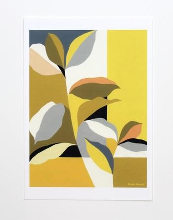 植物を大胆にデザインしたポスター。飾ると、殺風景になりがちな壁が鮮やかに変身します。見ているだけで気分が明るくなりそうですね!
