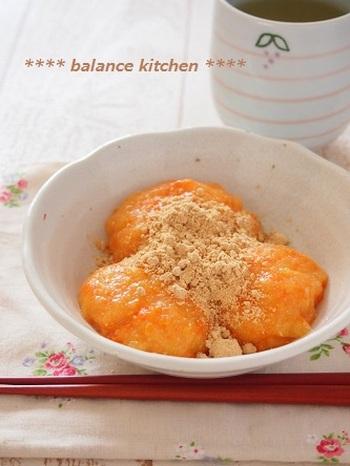 ニンジンとお豆腐で作る、究極にヘルシーなお餅レシピ。これなら安心してたくさん食べられますね。お子様はもちろん、ダイエット中の方にもおすすめのレシピです。