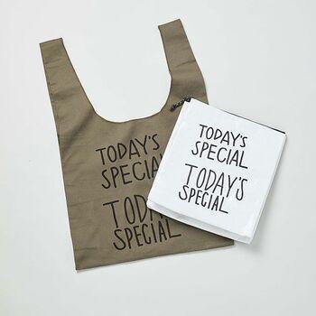 「TODAY'S SPECIAL」のマルシェバッグ&マイバッグのお得なセット。ウォームコットン100%のマルシェバッグは、落ち着いた大人っぽいカラー。マイバッグはポリエステルとアルミ素材なので、保冷バッグのように使えます。