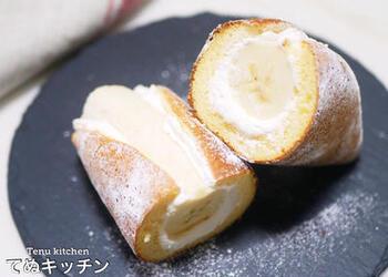 フライパンを使って、まるごとバナナのお菓子を作ってみませんか?みんな大満足のふわふわボリューミーなスイーツです。