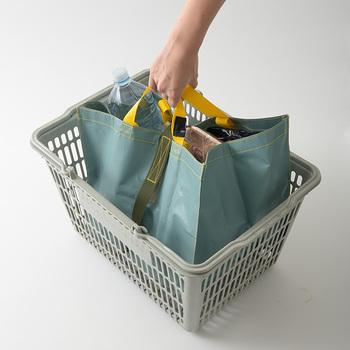 「MILESTO」のカートバッグは、レジカゴにちょうど収まるサイズ感。清算前にカゴにセットすれば、袋詰めせずにそのまま持ち帰れるので便利です。