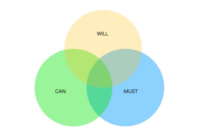 仕事では、WILL・CAN・MUSTの重なりが大きければ大きいほど満足感を得られると言われています。この3つを明確にしていくことがこのフレームワークで実際に行うことです。