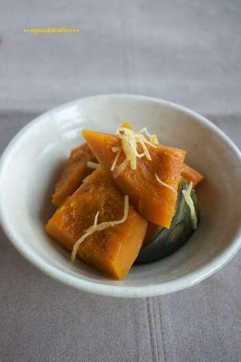 ほっと心が和む、癒しの味。かぼちゃをはちみつと生姜でほっくりと煮込んだ優しい料理です。お弁当などにもいいですね。