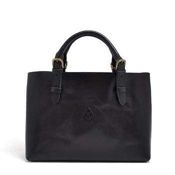 シンプルながらも深みのある味わいを持つ、革素材のトートバッグ。かっちりとしつつも、トートバッグならではのカジュアルさが感じられるデザインです。