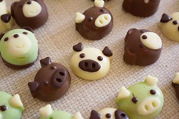 シリコン型があれば、かわいい動物チョコもいろいろ作れちゃいますね。 色を変えてたくさん作りたくなってしまいます。