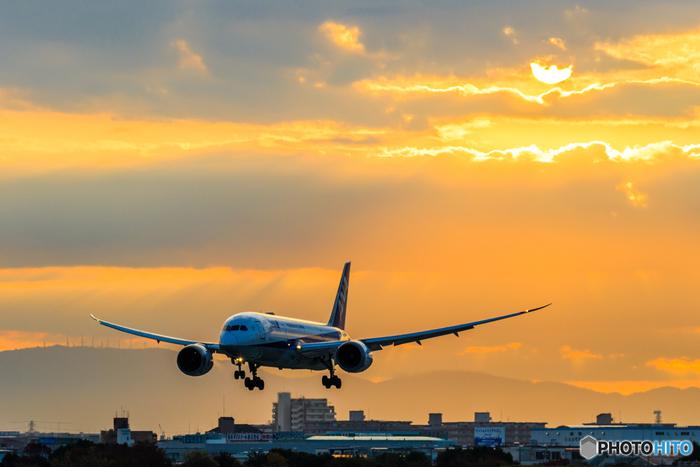 飛行機ファンや訪れた観光客を魅了している、伊丹空港の屋上展望デッキ。これはまさに最高の眺め! リニューアルされ、さらに綺麗になった屋上展望デッキからは、離発着する航空機の様子を迫力たっぷりに眺めることができます。夕焼け時の美しい景色や、夜ライトアップされた景色など、カメラを持って訪れるのもおすすめですよ。