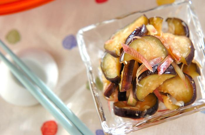 みずみずしいナスにミョウガの風味がアクセントに。即席漬物は白いご飯に合う美味しさです。
