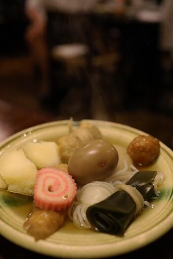 焼き鳥や山菜が自慢のお店ですが、もう一つの人気はおでん。寒い冬にはほっこりと体を温めてくれます。