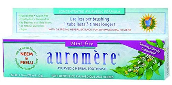 Auromere, Ayurvedic Herbal Toothpaste, Mint-Free, 4.16 oz (75 ml/117 g)