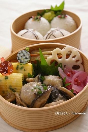 里芋の甘辛の椎茸と豚肉を絡ませた煮物。濃い目の味付けでお弁当にピッタリ。