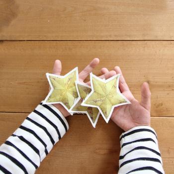 オーナメントは、クリスマスはもちろん終わってからも楽しめるアイテム。同じ星でも、ちょっとモコモコの生地で作るとより冬っぽく仕上がります。