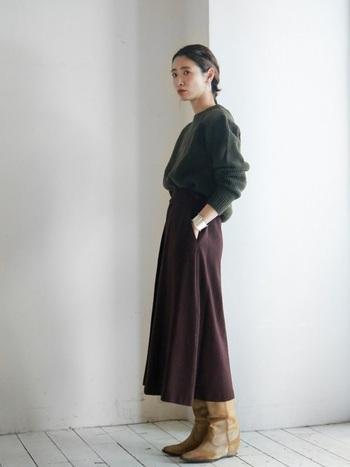 なめらかなウールのフレアスカートに、ニットをINした女性らしい上品ミリタリースタイル。ウェスタン風ブーツがアクセントになっています。濃いめの色使いの組み合わせがリッチな雰囲気を醸し出します。