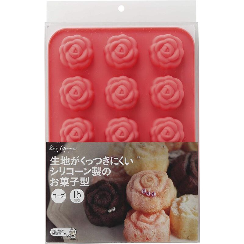 貝印 耐熱 シリコン製 お菓子型 15個取り ローズDL-6249