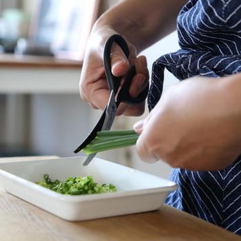 ギザギザの刃とカーブシルエットを組み合わせて、食材をしっかりキャッチしながらカットできるキッチンバサミです。  簡単なメニューなら包丁要らずで調理が完了するので、一本あるととても便利♪
