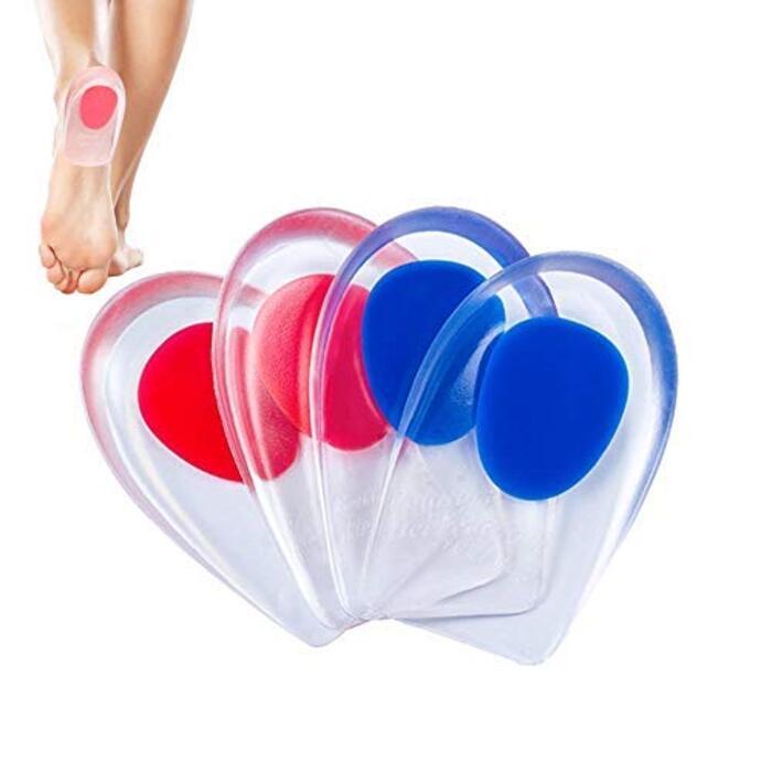 [Monica Blasd] かかと クッション インソール かかと 中敷き シリコン 衝撃吸収 踵骨棘 対応 足底筋膜炎 サポーター アーチ足裏サポーター 痛み緩和 シークレット インソール 赤&青セット2足分