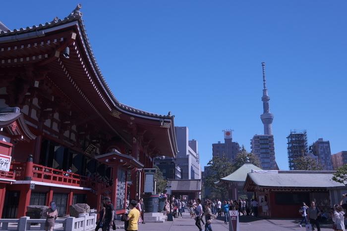 新しい東京の名所「スカイツリー」が目前に見える浅草ですが、スカイツリーまで徒歩範囲内だってご存知でしたか? 雷門前から歩いて20分ほどでスカイツリーへ到着です。  浅草駅から吾妻橋を越えればスカイツリーエリアへ。粋な下町を散策しながらスカイツリーまでお散歩、というコースもありですね!